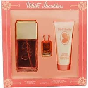 White Shoulders For Women Set, Eau De Cologne Spray 4.5 oz, Body Lotion 3.3 oz & Parfum .25 oz Mini