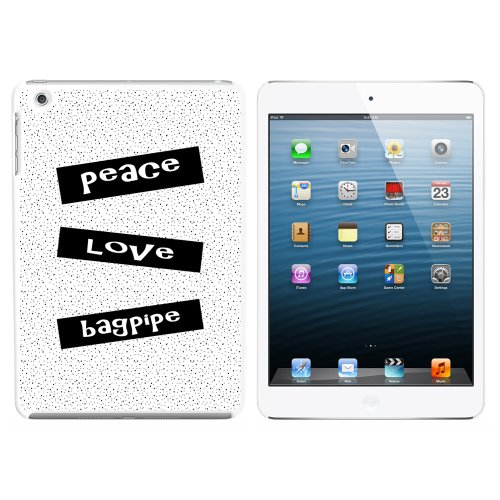 Peace Love Bagpipe Snap On Hard Protective Case For Apple Ipad Mini - White