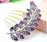 niceeshop(TM) New lovely Fashion Purple Leaves Jewelry Crystal Hair Clip Hairpin