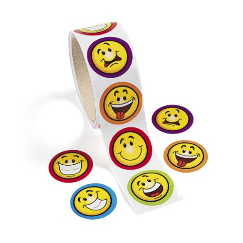 Fun Express Goofy Smile Face Stickers (1 Roll)