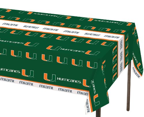 Creative Converting Miami Hurricanes Plastic Banquet Table Cover - 1