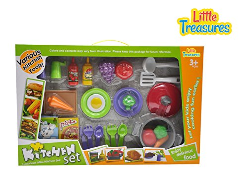 Kitchen Set Pretend play mini kitchen set of 27pcs for kids age 3+ includes cutlery set of spoons, cooking pot, plates, vegetables, egg, tomato paste, salad dressing, milk and pizza cheese pack