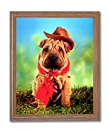 Shar Pei Puppy Dog Western Cowboy Hat Animal Home Decor Wall Picture Oak Framed Art Print