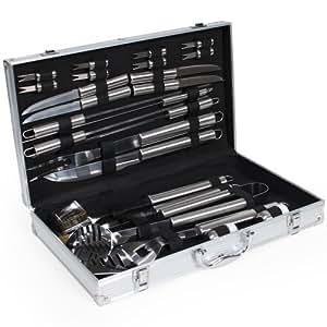 TecTake Kit 25 pièces accessoires et couverts Gril-Barbecue BBQ en acier inoxydable avec mallette argenté