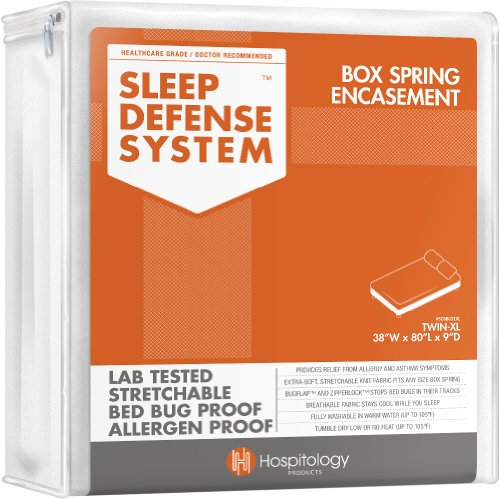 Lowest Prices! Hospitology Sleep Defense System Bed Bug Proof Box Spring Encasement, Twin X-Long