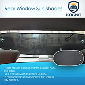 Premium Rear Window Sun Shade - Sun Protection - Glare Reduction - Guaranteed - Suction Cups Stay On - Twice as Thick as Other Back Car Sun Shades