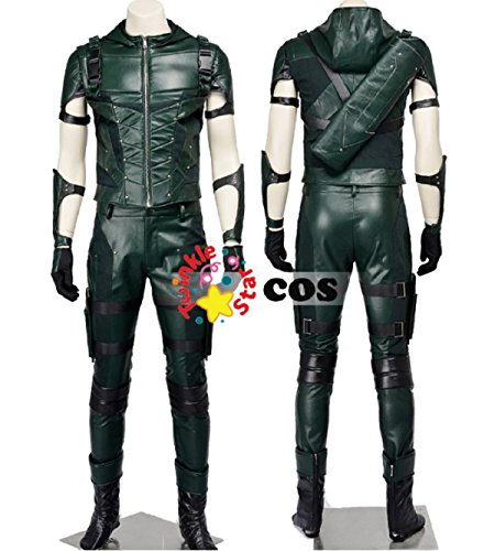 [2016 Green Arrow season 4 Costume Oliver Queen leather Halloween for adult (M)] (Aztec Dancers Costumes)