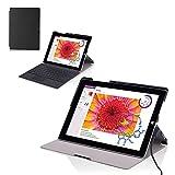 Surface 3 10.8 インチ ケース - ATiC Microsoft Surface 3 10.8インチタブレット専用超軽量二折薄型スタンドケース BLACK
