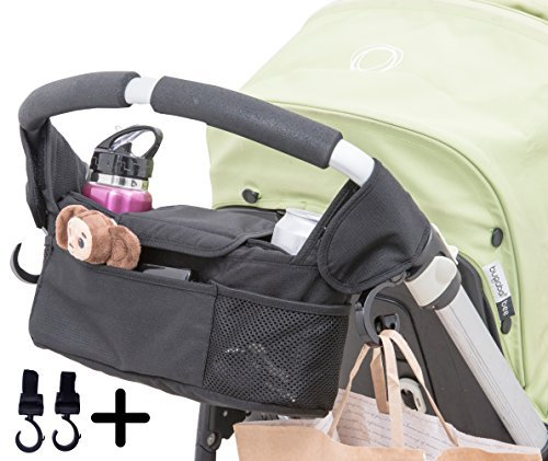 Baby Stroller Organizer with Cup Holder Pockets. Including Two Hooks for Accessories. - 1