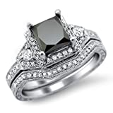 1.95ct Black Princess Cut Diamond Engagement Ring Matching Band Set 14k White Gold