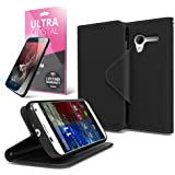 Cellto Premium Moto X Wallet Case with HD Screen Protector [Slim Ultra Fit] (Black) Diary Cover w/ ID Pocket Top Quality ( 1st Generation )