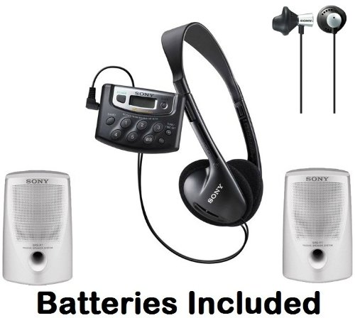 Sony Walkman Digital Tuning Palm Size AM/FM Stereo Radio with Weather Band, 20 Station Preset Memory, DX Switch for Exceptional Reception, Belt Clip, Over the Head Stereo Headphones, Silver Bass Booster Earbuds & Passive Lightweight Portable Speakers - Ba