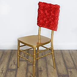 10 pcs Raised Roses Square Top Chair Caps Covers - Red