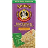 Annie's Homegrown Rice Shells and Creamy White Cheddar Gluten Free Macaroni & Cheese (Pack of 6)