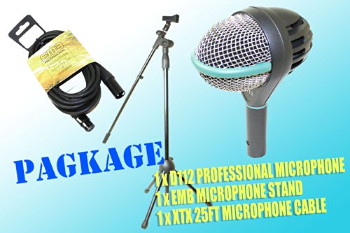 Akg D112 Large-Diaphragm Dynamic Professional Microphone + Xtx 25Ft Microphone Cable + Stand