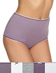 5 Pack Cotton Rich Marl & Spotted Full Briefs