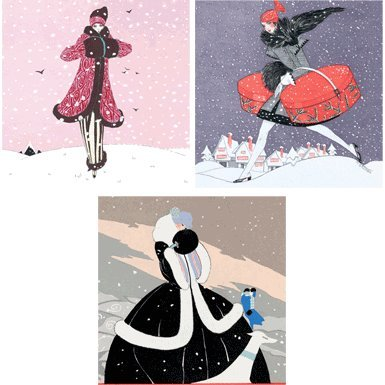 Fashionable Christmas Pack of 12 Christmas Cards (Triple Pack)||RF10F