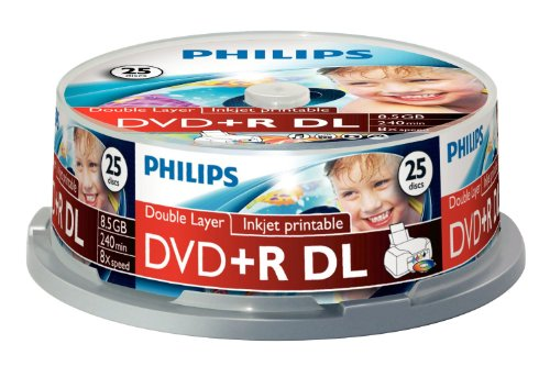 25-Pk Philips 8X Dvd+R Double Layer White Inkjet Hub Printable Dvd Disk