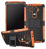Heartly Flip Kick Stand Spider Hard Dual Rugged Armor Hybrid Bumper Back Case Cover For LG G4 - Mobile Orange