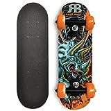 Rude Boyz 17 Inch Mini Wooden Beginner Skateboard - Orange Dinosaur