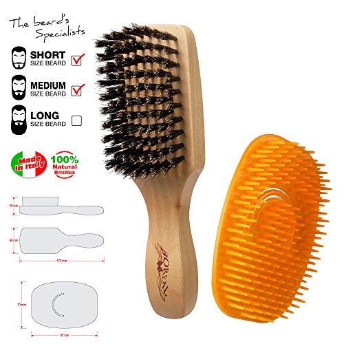 Set uomo. Spazzola e pettine districante per la barba. Il pettine districa i nodi e aiuta a distribuire olii o detergenti mentre la spazzola dà forma alla barba.