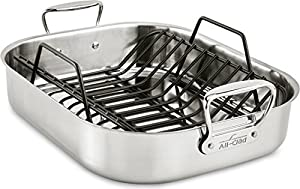 All-Clad Stainless Steel Large 16 x 13 Inch Roaster with Rack by All-Clad