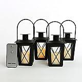 Set of 4 Black Powder Coated Mini Crossbar Lanterns with Votives and Remote