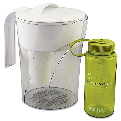 Brita 35391CT Classic Pour-Through Pitcher, 48oz, W/bonus 16oz Water Bottle, 4/carton (Brita 48 Oz compare prices)