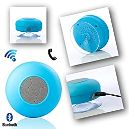Blue Portable Waterproof Bluetooth USB Charger 3.5mm Stereo SoundBox Strong Sucker Speaker