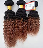 MyNiceHair-- 3 Bundles/lot 10 12 14 Inches Brazilian Two Tone Ombre 1B#/30# Human Remy Hair Extensions Weave Kinky Curly 300grams, Thick and full