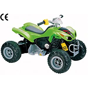 12v Mega Electric Ride On Kids Quad Bike - Ages 3+ Years - Green.