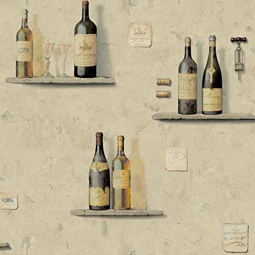 York Wallcoverings American Classics Wine Bottle/Niche Wallpaper Memo Sample, 8 By 10-Inch, Light Grey, Sandstone Tan, Mustard, Deep Maroon, Black, Amber front-214142