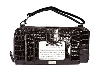 WalletBe Women's Leather Cell Phone Accordion Doublewide Wallet Purse Medium Black