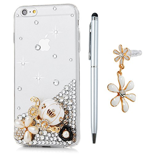 iPhone 6 Plus / 6s Plus Custodia Trasparente Glitter Bling Strass Case Rigida Plastica Hard - MAXFE.CO 3D Fatto a mano Cover Plastica PC Duro Protettiva,Cristallo Diamante - Corona imperiale,perle,zucca