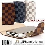 【30044】【ホワイト】【iPhone4s】【iPhone4】 専用ケース・スマホケース・横開き二つ折りケース( ダミエ調 全3色)