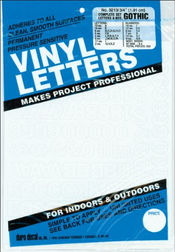 """Permanent Adhesive Vinyl Letters and Numbers .75""""-Gothic/White"""