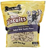 Three Dog Bakery Biscuits Miniatures Vanilla Dog Treats, 32-Ounce