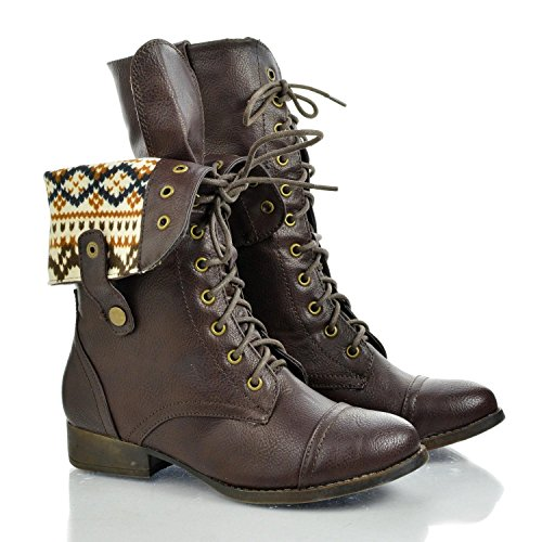 Sharpery1 Brown Round Toe Lace Up Two Way Foldable