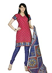 Araham Red AND Blue Printed 100% Cotton Unstitched Salwar Suit Dress Material