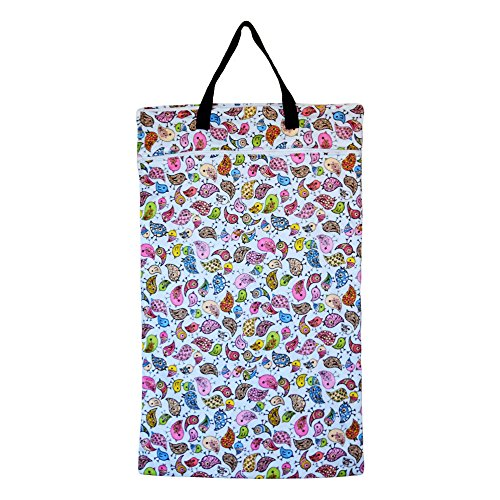 Large Hanging Wet Dry Bag for Baby Cloth Diapers or Laundry (Birds)