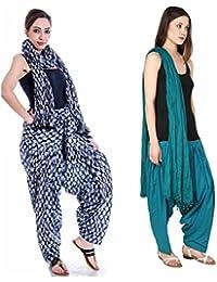Gangaur Fashion Multi Colour Women's Patiala And Dupatta Set Of 2 ( Free Size)