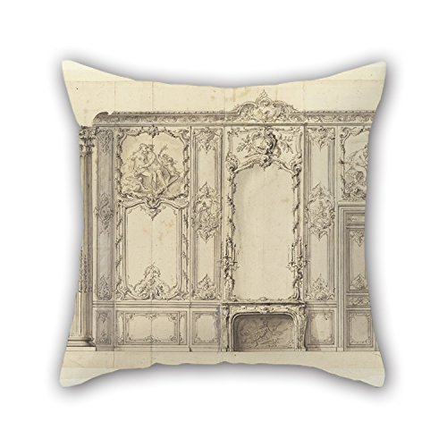 PaPaver Oil Painting Germain Boffrand - Wall Elevation Of The Bedroom Of The Prince De Rohan, Hôtel De Soubise, Paris Pillowcase 16 X 16 Inches / 40 By 40 Cm For Adults,relatives,dinning Room,car, (Germain Toyota compare prices)