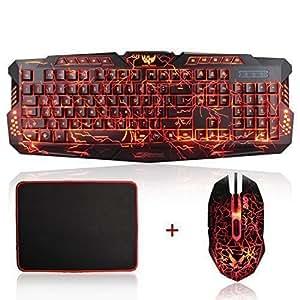 gaming keyboard and mouse set mftek usb wired led 3 color backlit gaming keyboard. Black Bedroom Furniture Sets. Home Design Ideas