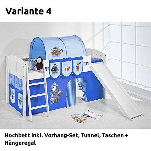 Hochbett Spielbett IDA Pirat Blau, mit Rutsche und Vorhang, weiß, Variante 4 jetzt bestellen