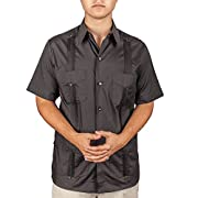 Basic Traditional Cotton Blend guayabera color black.