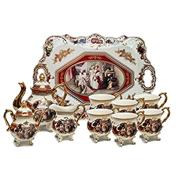 Royal Porcelain 10-Piece Antique RED Vintage Dining Tea Cup Set, Service for 6, Handmade & Hand-Painted, 24K Gold Bone China Tableware