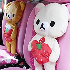 2-pack Rilakkuma Bear Car Seat Cover Plush Cushion Pillow