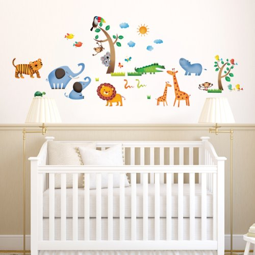 Decowall dw 1206 jungle wall stickers kids wall decals - Babyzimmer jungle ...