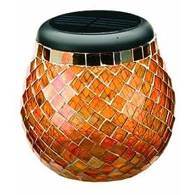 Smart Solar/Smart Solar 3772WRM1 Glass  Mosaic Solar T-Light. Amber