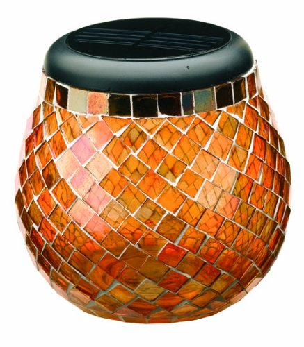 Smart Solar 3772Wrm1 Glass  Mosaic Solar T-Light, Amber (Discontinued By Manufacturer)